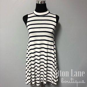 Navy & White Striped Tunic Dress